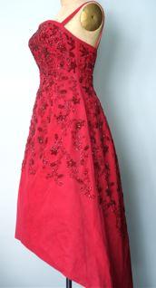 Beaded silk taffeta dress with 'intermission' hemline, c. 1956-58