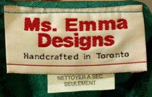 Label from green silk dress, c. 1993