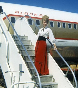The Gay Nineties meets the Space Age aboard Golden Nugget service on Alaska Airlines, c. 1968