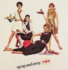 """Elisa Daggs """"Foreign Accent"""" paper dresses for TWA, 1968, left to right: Italy, Olde England, Manhattan Penthouse, France"""