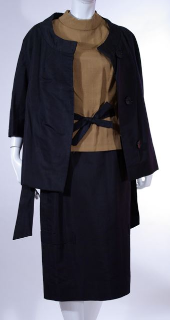 Black silk and rayon suit by Rodolphe Liska, c. 1960