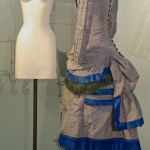 c. 1880 dress displayed on form