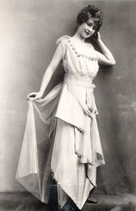 Evening dress with low tied sash, December 1914