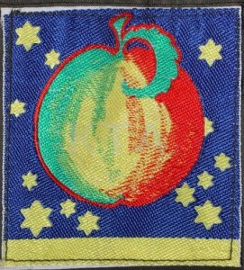 The costly multi-coloured woven silk Apple label, 1967/68