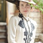 Countess of Grantham's black lace trimmed linen suit