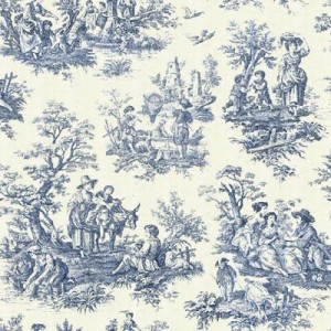 French 18th century Toile de Jouy indigo print