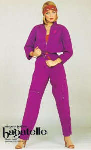Advertisement for pant suit designed by Margaret Godfrey for Bagatelle, 1980