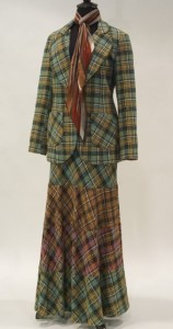Tartan wool blend maxi skirt suit, c. 1973, By Margaret Godfrey for Bagatelle