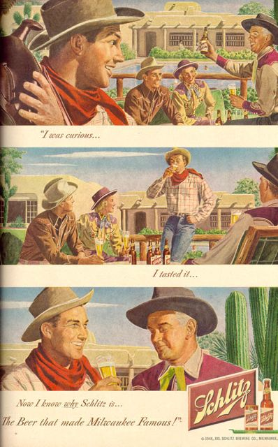 Beer advertisement from 1949 showing city slickers at a dude ranch wearing jeans, Life magazine, 1949