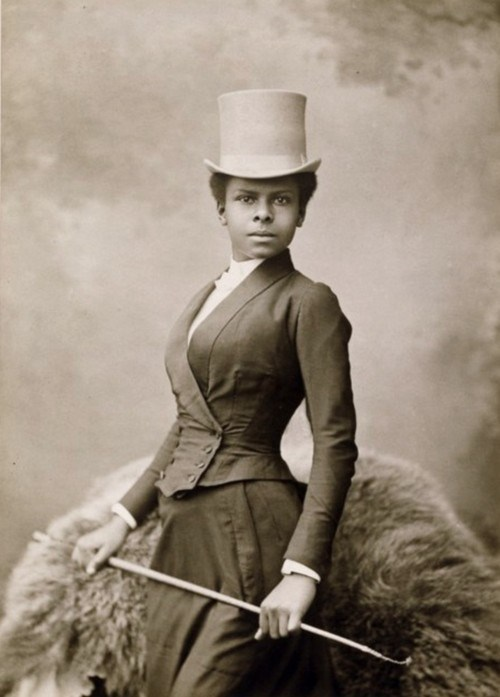 Woman in riding habit, 1880s