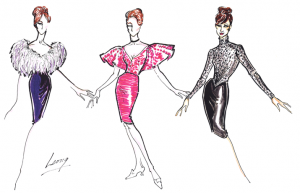 Three designs by Leong for Streisand's club appearances in the early 60s that included (left to right) a feathered bedjacket, vintage 20s shoes, and Edwardian bodice.