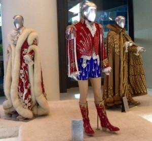 Three costumes made by Travis for Liberace, including his hated patriotic outfit, from the Liberace museum collection.