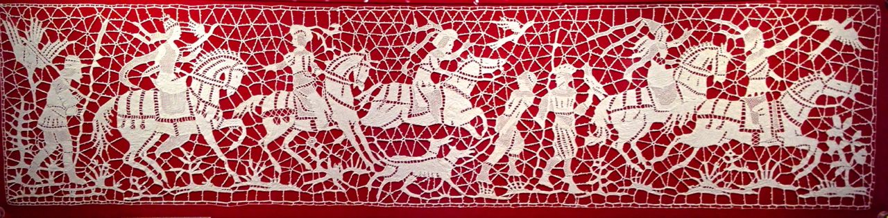 Needle lace panel of hunting scene, c. late 19th century