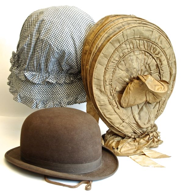 Gingham mob cap, c. 1910, from Canandaigua antique store; Gold silk caleche, c. 1830s, from Sturbridge sale; and man's riding hat, c. 1920, from Brimfield antique show