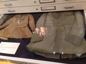 One of the pull-out drawers featuring a man's summer jacket made from pina cloth