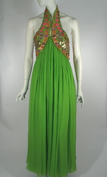 Green silk evening gown with sequinned bodice, by Oscar de la Renta for Jane Derby, c. 1967