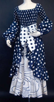 Blue and white polka-dot gypsy inspired outfit, by Oscar de la Renta, c. 1972