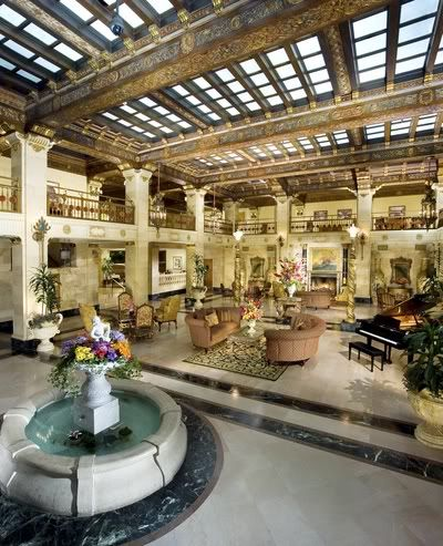 Lobby of the Davenport hotel in Spokane Washington with its skylight ceiling.