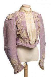 Purple silk and lace bodice my Margaret O'Brien, c. 1899 labelled M O'Brien Robes West 28th street, NY