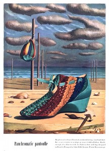 Advertisement for similar high-top summer shoe by Perugia, dated 1940