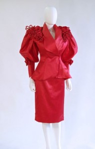 Satin suit by Cache, c. 1984