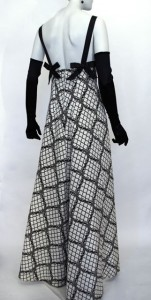 Matching evening dress in reverse colours, c. 1964