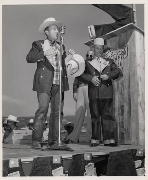 Bing Crosby donning his denim tuxedo jacket, June 30, 1951