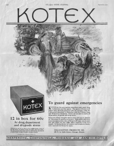 Kotex advert from 1921 - the first year the product was on the market