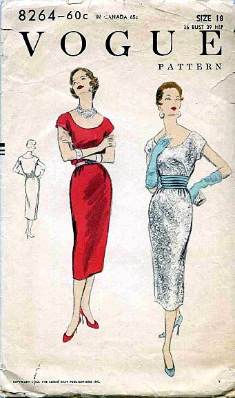 Vogue pattern, 1954 with both a size number and sizes posted on cover.