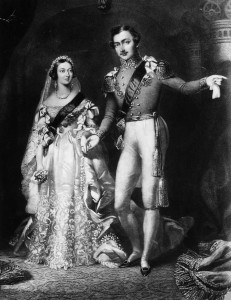 Queen Victoria and Prince Albert on their wedding day, February 10, 1840