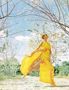 Varuchka modelling a Claire Haddad in the April 15 1966 edition of Vogue