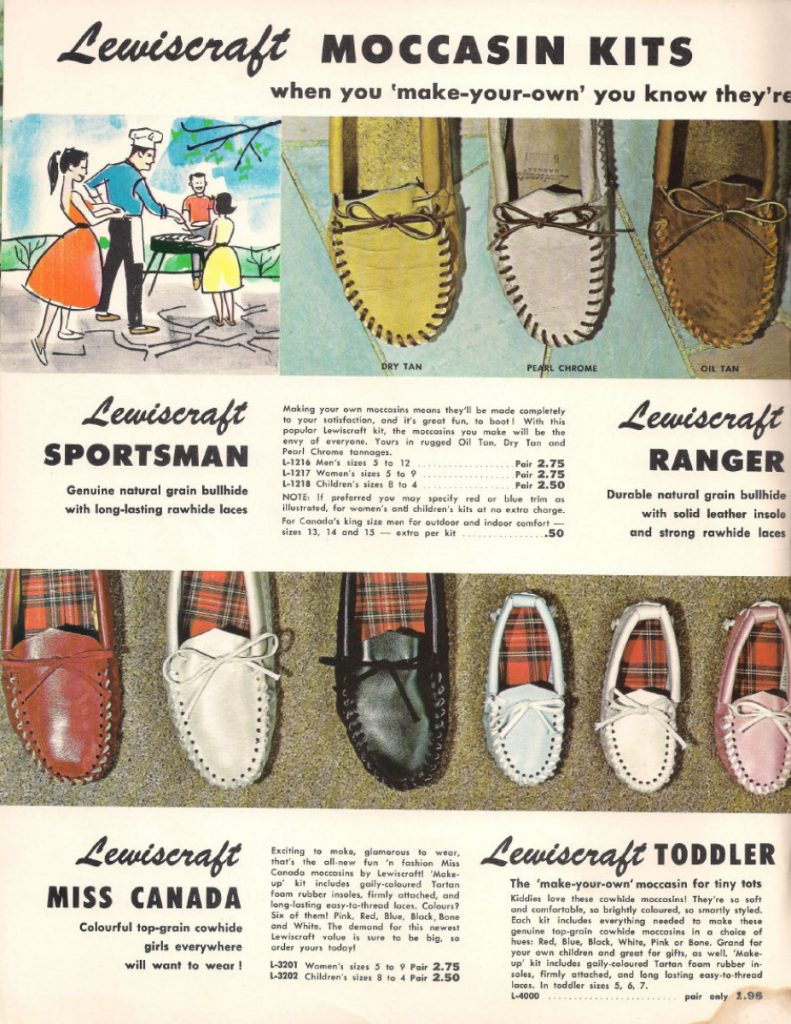 LI-WOODS-LEWISCRAFT A full-page ad for moccasin kits from Lewiscraft's 1963 mail-order catalogue.  Uploaded by: Vallis, Mary