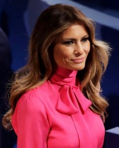 Melania Trump wearing a Gucci blouse with pussycat bow