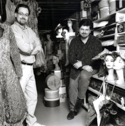 Kenn Norman (left) and Jonathan Walford (right), in costume storage room